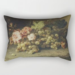 Still Life with Grapes by Margaretha Roosenboom (1853 -1896) Rectangular Pillow