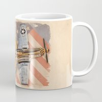 aviation Mugs featuring Aviation Pinups - P-51 Mustang by Vintage Pinups