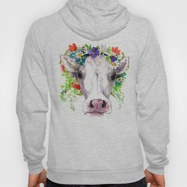 Cow and Flowers, Cow head floral Farm cattle head famr animals Hoody