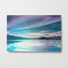 Peaceful Blue Lake Pukaki, New Zealand Metal Print