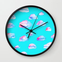 Watercolor Clouds Wall Clock