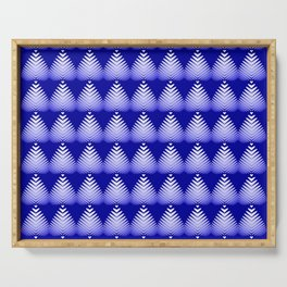Pattern of white hearts and blue flowers on the sea background. Serving Tray
