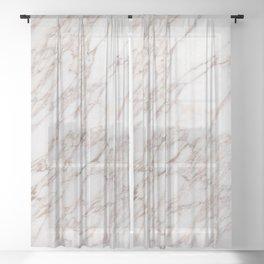 White Marble Carrara Calacatta Sheer Curtain