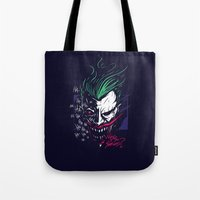 the joker Tote Bags featuring Joker by Steven Toang