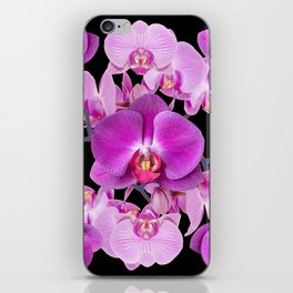 Modern  Ornate Pink & Purple  Moth Orchids Black Colored Art iPhone Skin