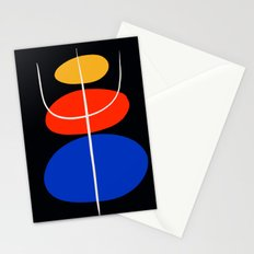 Abstract black minimal art with red yellow and blue Stationery Cards