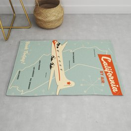 California 1950s vintage style travel poster Rug