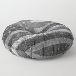 Black and White USA Flag in Grunge Floor Pillow