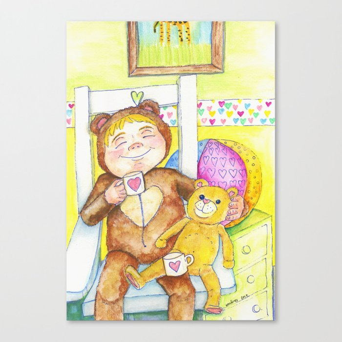 Teddybear tea-time Canvas Print
