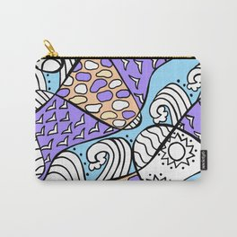 Doodle Art Drawing - Seagulls Rocks and Waves - Blue Purple Carry-All Pouch