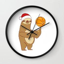 Lazy Sloth Sleepy Nap Merry Christmas December 25 T-Shirt Design Shoot Ring Homecourt Player Team Wall Clock