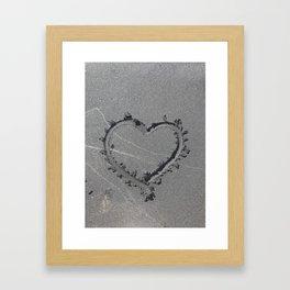 A Sand Formed Heart Framed Art Print