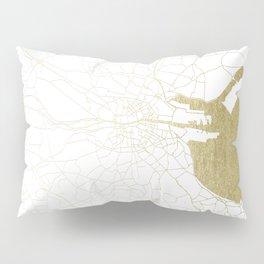 White on Gold Dublin Street Map Pillow Sham