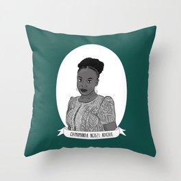 Chimamanda Ngozi Adichie Illustrated Portrait Throw Pillow