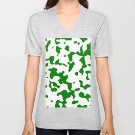 Large Spots - White and Green Unisex V-Neck