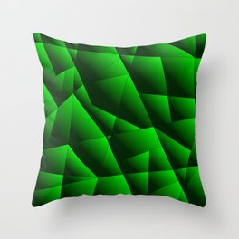Dark overlapping sheets of green paper triangles. Throw Pillow