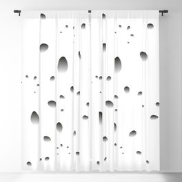 Gray drops and petals on a black background in nacre. Blackout Curtain
