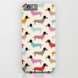 Sweet retro dachshund doxie puppy pattern iPhone Case