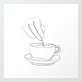 """ Kitchen Collection "" - Hand mixing coffee with a spoon Art Print"