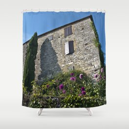 French village with a Medieval Castle Shower Curtain