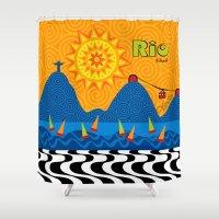 rio Shower Curtains featuring Rio 1 by Monica Fuchshuber