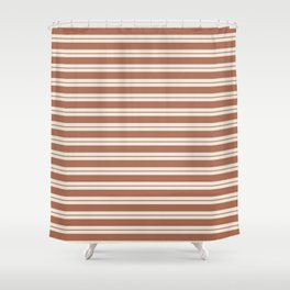 Sherwin Williams Cavern Clay Warm Terra Cotta SW 7701 Horizontal Line Patterns 1 on Creamy Off White Shower Curtain