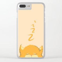 Cute fat cat asleep Clear iPhone Case