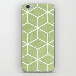 Lime Green and White - Geometric Textured Cube Design iPhone Skin