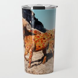 Wild Horses On Flowers Travel Mug
