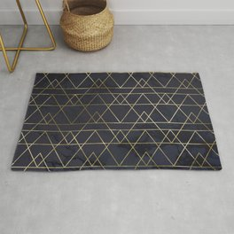 Modern Deco Gold and Marble Geometric Mountains on Navy Blue Rug