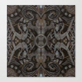 Curves & lotuses, black, brown and taupe Canvas Print