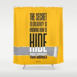 Lab No. 4 - The secret to creativity Albert Einstein Inspirational Quotes Poster Shower Curtain