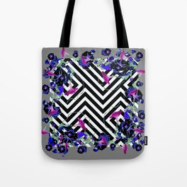 Geometric  black-White Morning Glories Grey Pattern Garden  Art Tote Bag