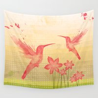 hummingbird Wall Tapestries featuring Hummingbird by Kakel