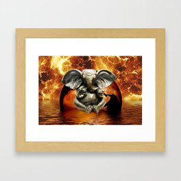 Elephant Ganesha and Earth Framed Art Print