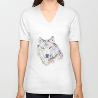 """hobbes V-neck T-shirts featuring """"Homo homini lupus est."""" by Cristian Blanxer"""
