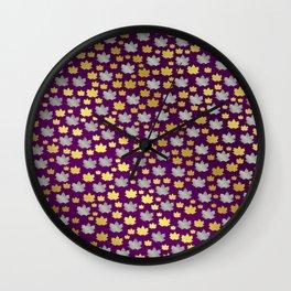 gold,silver,purple,maple, leaf, canadian, canada, symbol, design, background, fall, element, tree, c Wall Clock