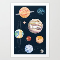 Marbly Warbly Planets Art Print