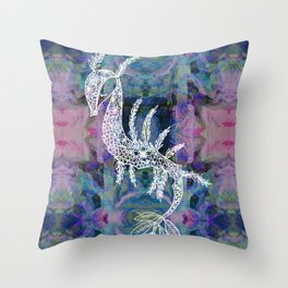 Frankie Floral Leafy Sea Dragon Throw Pillow