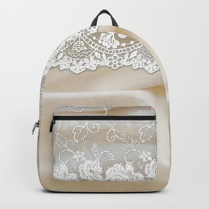Bride lace - Luxury white floral elegant lace on cream silk fabric on #Society6 Backpack