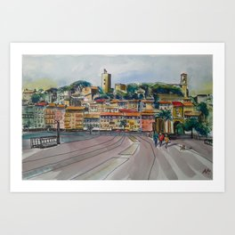 Watercolour painting of Cannes in the winter Art Print