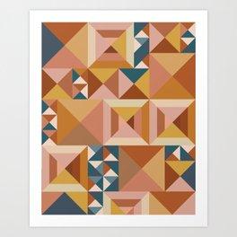 Modern Triangle Quilt Blocks Art Print