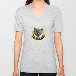 Leave Meow Alone – Funny cat Unisex V-Neck