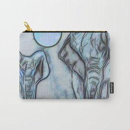 Elephants in blue Carry-All Pouch