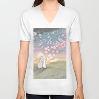 fairies V-neck T-shirts featuring Sunset Fairies by Bluedogrose