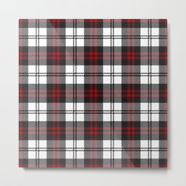 Cozy Plaid in Black and Red Metal Print