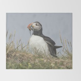 Atlantic puffin bird with a catch of fish Throw Blanket