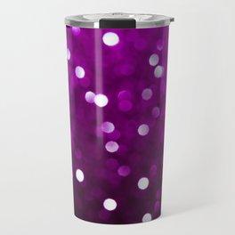 Dark Magenta Fuchsia Sparkly Bokeh Travel Mug