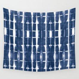 Shibori Stripes 3 Indigo Blue Wall Tapestry