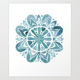 Watercolor Mandala III blue green Art Print